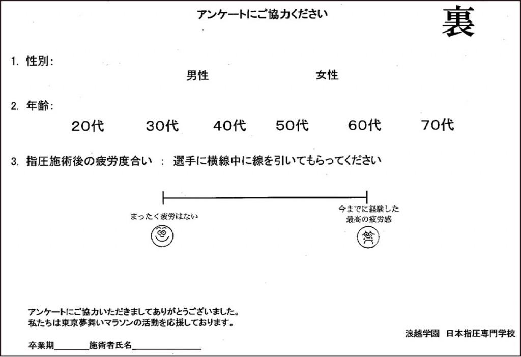 図2. 施術後アンケート用紙