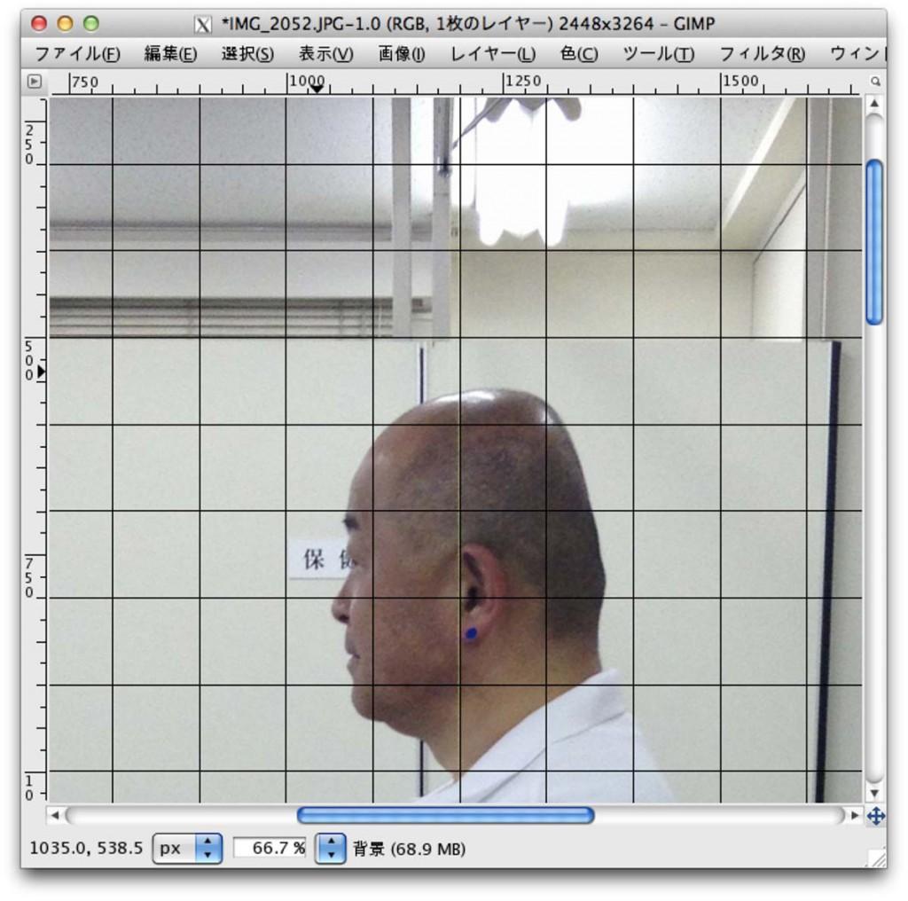 図8. 鉛直線と縦グリッドを平行にあわせる