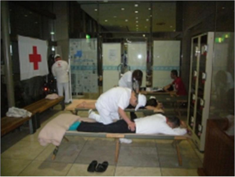 図2.組み立て式ベッドによる 伏臥、仰臥、横臥位での指圧